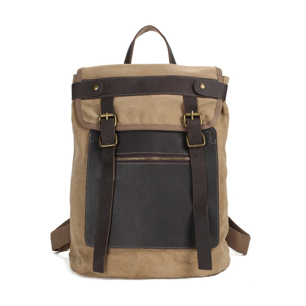 Canvas With Leather Trim School Backpack, Gym Bag, Travel Backpack 1102 - ROCKCOWLEATHERSTUDIO