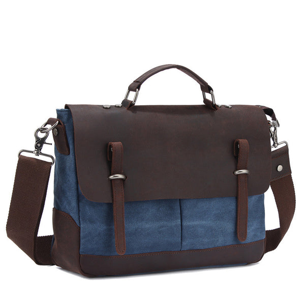ROCKCOW Vintage Style Canvas Leather Over-flap Briefcase Messenger Bag YD6896 - ROCKCOWLEATHERSTUDIO