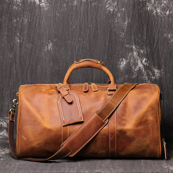Vintage Crazy Horse Leather Duffle Bag with Shoes Compartment, Travel Bag, Weekend Bag