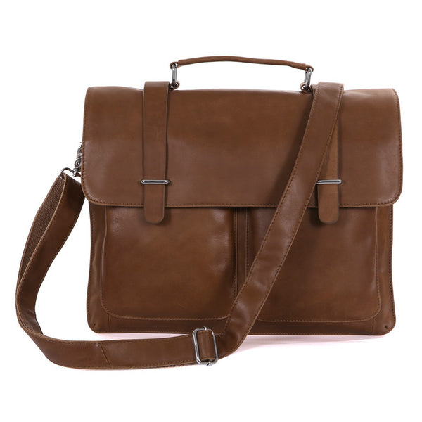 ROCKCOW Top Grain Leather Briefcase Men's Business Bag Crossbody Messenger Shoulder Bag 7100
