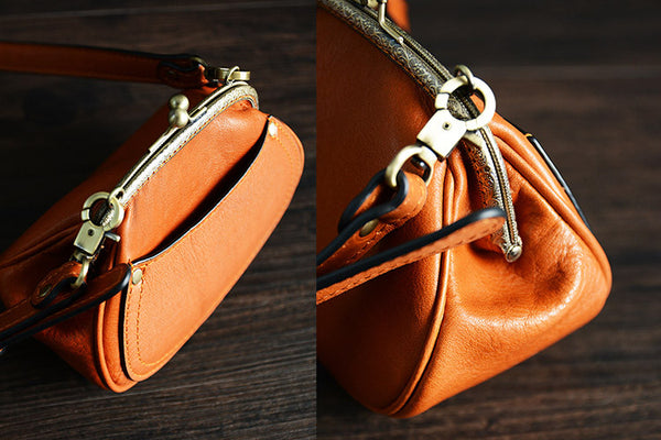 Handmade Itanlian Tanned Leather Toiletry Bag Satchel Messenger Shoulder Bag Women Mini Bag D033 - ROCKCOWLEATHERSTUDIO
