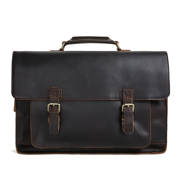 Vintage Distressed Leather Briefcase for Men, Leather Messenger Bags, 17'' Laptop Bags