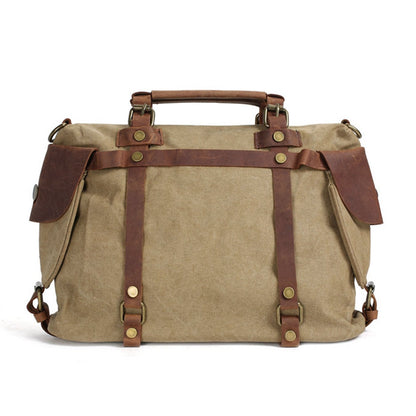 Flash Sale Canvas Leather Bag Briefcase Messenger Shoulder Bag Laptop Bag 1801M - ROCKCOWLEATHERSTUDIO