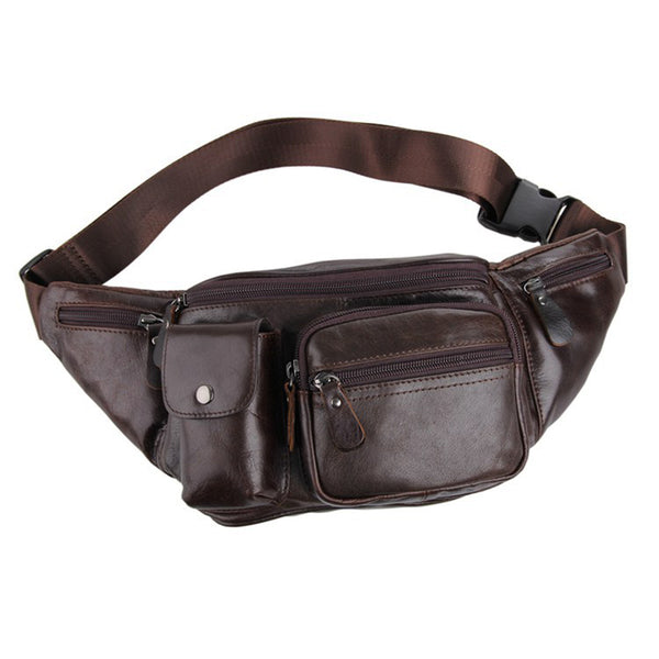 Top Grain Leather Men's Wallet Waist Bag, Casual Small Fanny Pack, Leather Weekender Belt Bag for Men 7210