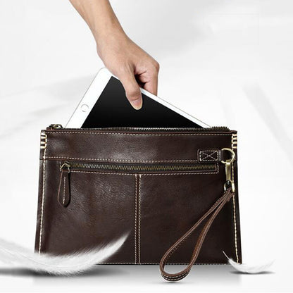 Handmade Men Clutch Full Grain Leather Men Wrist Bag Retro Ultra Thin Clutch Bag YD8067