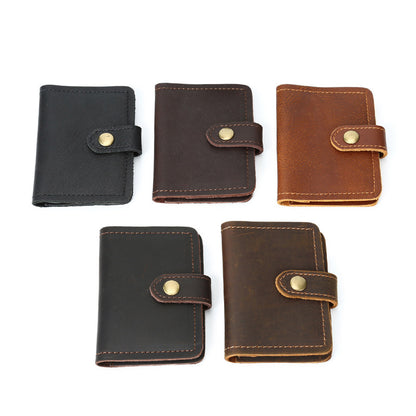 Retro Card Holder Men Short Wallet Handmade Full Grain Leather Small Wallet YD1043