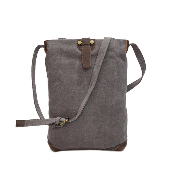 Leather With Canvas Messenger Bag Fashion Canvas Shoulder Bag Large Capacity Satchel Bag YD1833 - ROCKCOWLEATHERSTUDIO