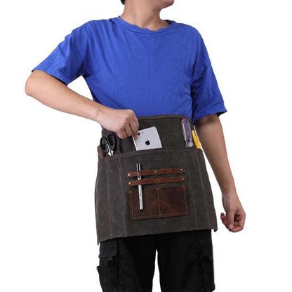 Waxed Canvas Gardening Apron Multifunction Craftsman Apron Retro Waterproof Apron YD5790