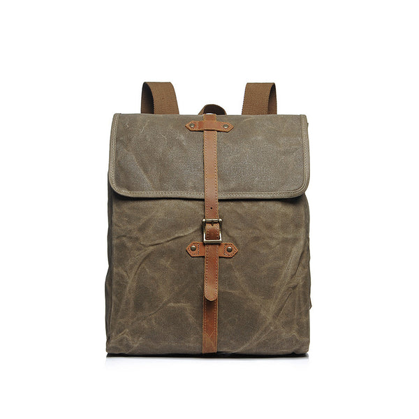 Waxed Canvas Backpack Retro Waterproof Canvas Travel Backpack Leather With Canvas School Backpack YD2260 - ROCKCOWLEATHERSTUDIO