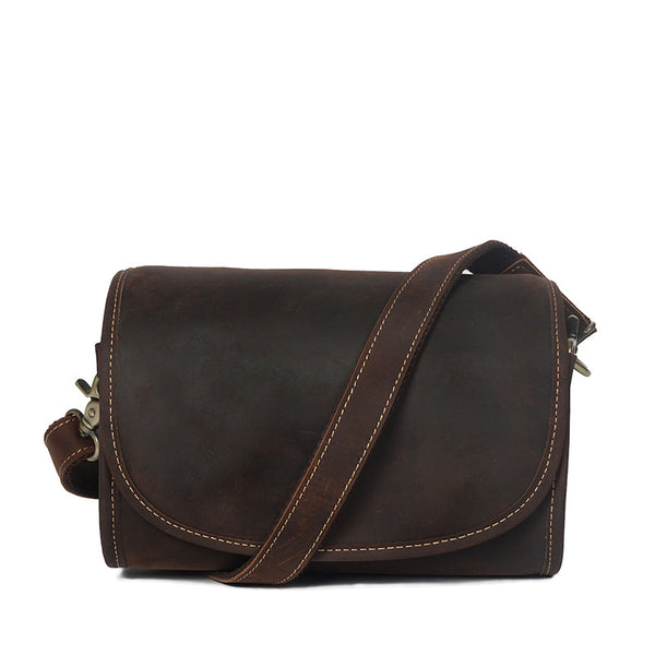 Vintage Crazy Horse Leather Women Shoulder Bag Ladies Casual Crossbody Bag Simple Style Messenger Bag YD004 - ROCKCOWLEATHERSTUDIO