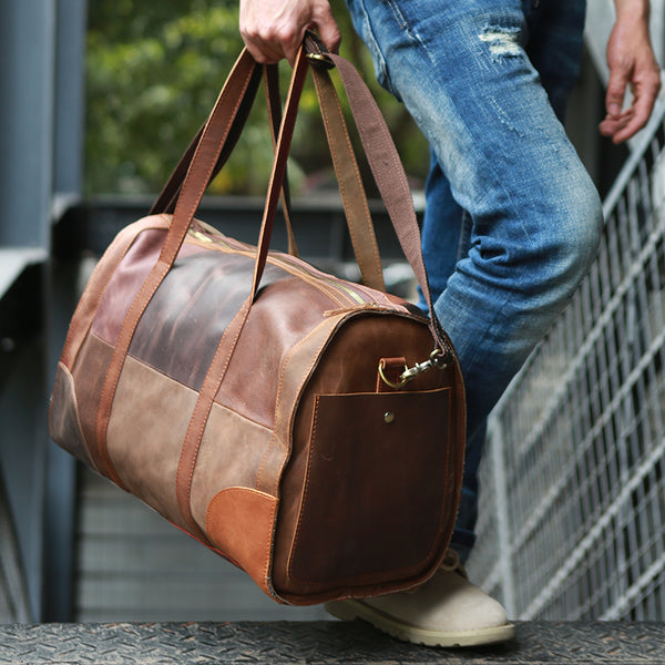 Handmade Men Weekend Bag Full Grain Leather Travel Bag Duffel Bag Z408