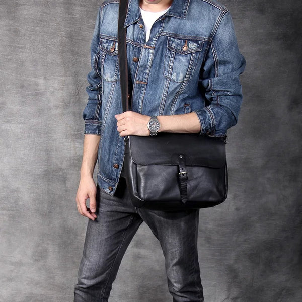 Men Handmade Messenger Bag Full Grain Leather Crossbody Bag Retro Shoulder Bag PEY91518