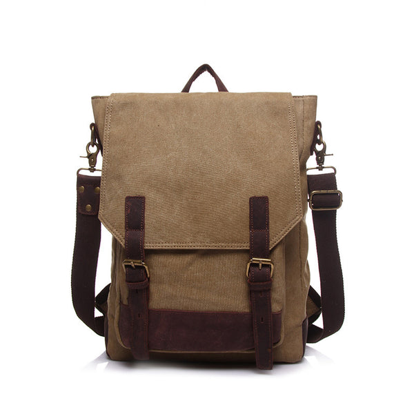 Canvas With Leather School Backpack Canvas Casual Shoulder Bag Canvas Travel Backpack YD1914 - ROCKCOWLEATHERSTUDIO