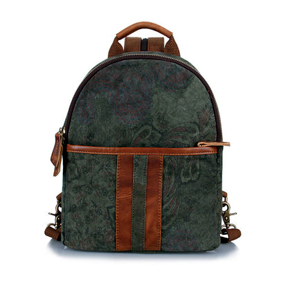 Waxed Canvas Leather Backpack, Casual Backpack, Vintage Waterproof Shoulder School Bag 2056