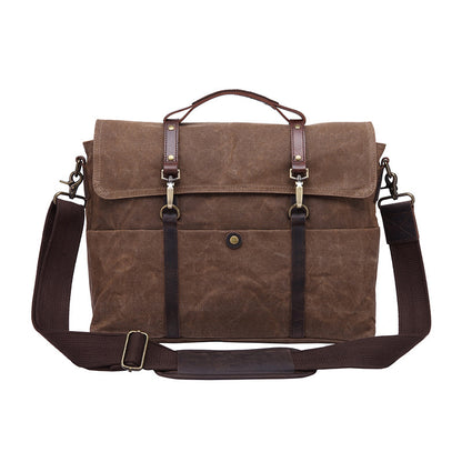 Handmade Canvas Leather Briefcase Vintage Crazy Horse Messenger Bag Crossbody Shoulder Bag Laptop Bag 5370 - ROCKCOWLEATHERSTUDIO