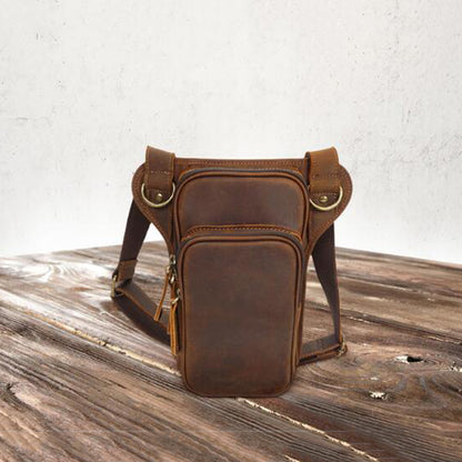 Crazy Horse Leather Messenger Bag Handmade Men Waist Bag Retro Men Waist Pack YD8158 - ROCKCOWLEATHERSTUDIO