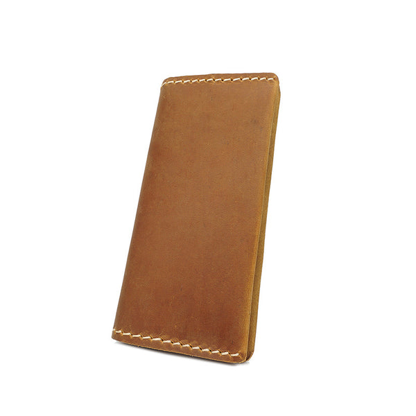 Handmade Men Long Wallet Full Grain Leather Long Clutch Retro Long Card Holder YD1009 - ROCKCOWLEATHERSTUDIO