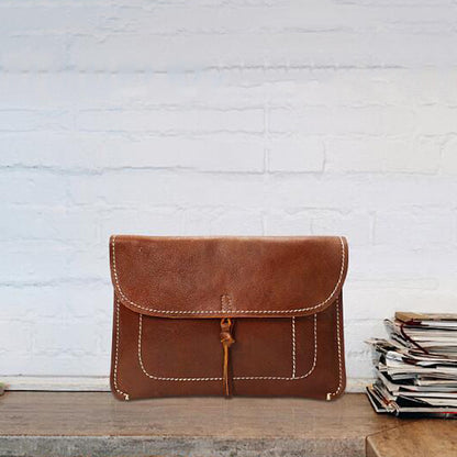 Retro Ultra Thin Folder Bag Handmade Large Clutch Full Grain Leather iPad Bag YD8063