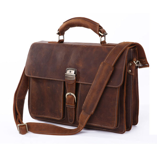 Handmade Top Grain Leather Briefcase Men's Minimalism Messenger Bag Vintage Handbags 7164 - ROCKCOWLEATHERSTUDIO