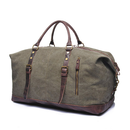 Vintage Canvas Leather Shoulder Bag Waterproof Canvas Duffle Bag Crossbody Travel Bag 2077