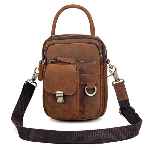 Crazy Horse Messenger Bags For Men Genuine Leather Satchel Bags Leather Crossbody Shoulder Bag 1003 - ROCKCOWLEATHERSTUDIO