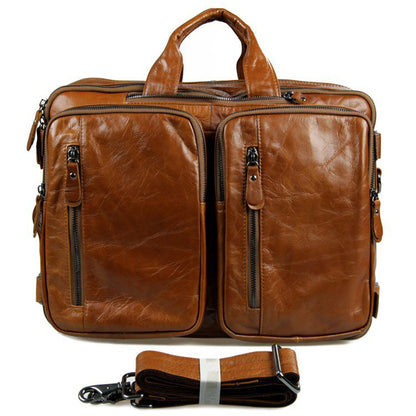 Full Grain Leather Briefcase Leather Business Laptop Backpack Messenger Shoulder Bag 7014
