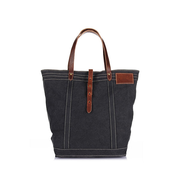 Canvas Top Grain Leather Handbag Vintage Men Tote Bag 3 Colors Men Shoulder Bag YD2106 - ROCKCOWLEATHERSTUDIO