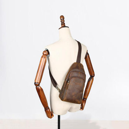 Men Casual Messenger Bag Full Grain Leather Men Chest Pack Men Shoulder Bag YD8052