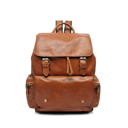 Full Grain Leather Women Backpack Laptop Backpack Vintage School Backpack YD8031 - ROCKCOWLEATHERSTUDIO