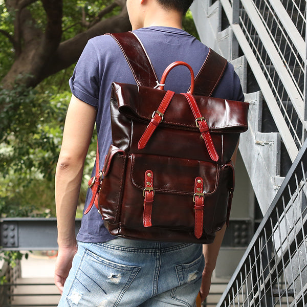 Full Grain Leather Unisex Backpack Retro Travel Backpack Laptop Backpack Z6608