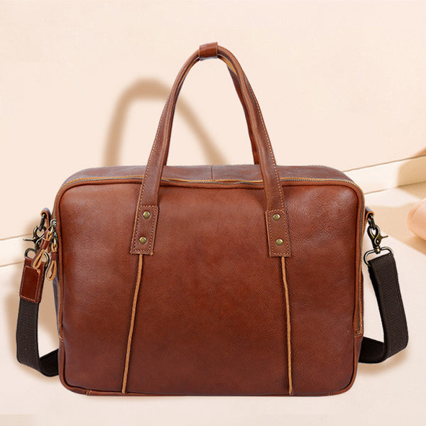 Full Grain Leather Men Retro Tote Bag  Men Shoulder Messenger Bag Men Travel Bag YD8248 - ROCKCOWLEATHERSTUDIO