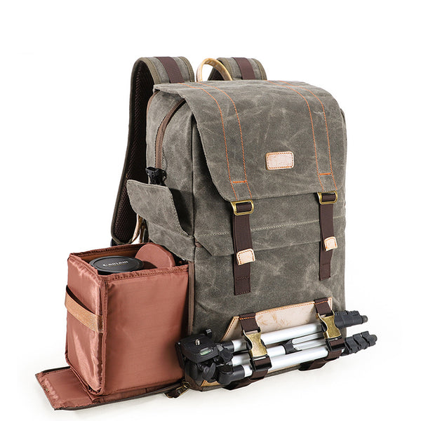 Retro DSLR Camera Backpack Waterproof Canvas Camera Backpack Travel Backpack QSM3100