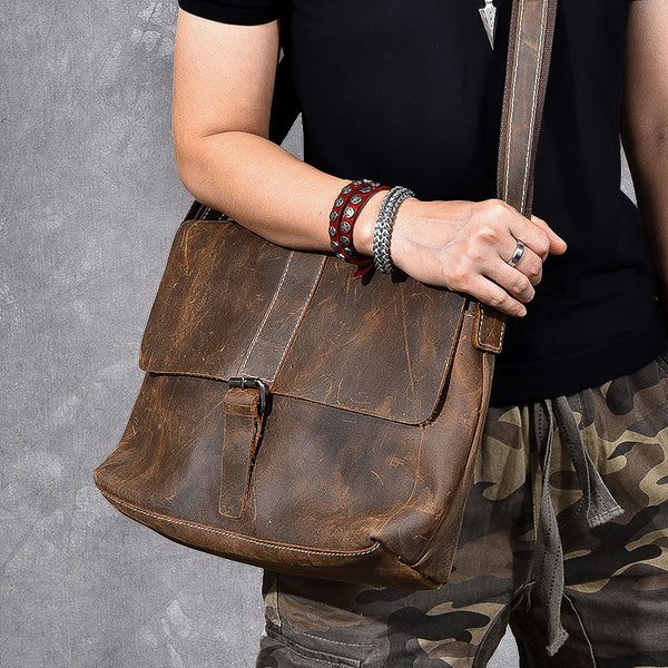 Full Grain Leather Men Messenger Bag Satchel Bag Stylish Shoulder Bag ESS298 - ROCKCOWLEATHERSTUDIO