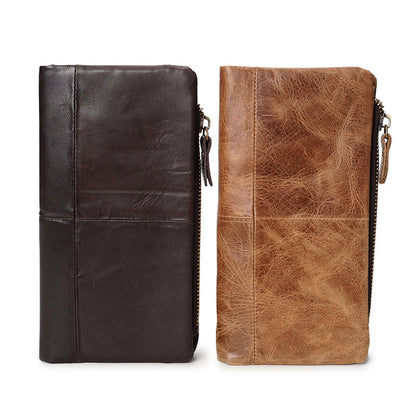 Handmade Men Long Wallet Full Grain Leather Zipper Wallet Detachable Clutch YD6607
