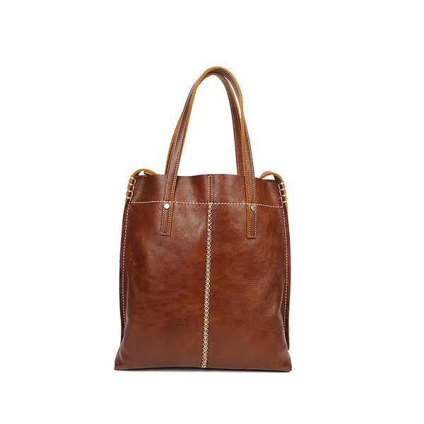 Handmade Women Tote Bag Retro Large Capacity Ladies Shoulder Bag Full Grain Leather Handbag YD8070 - ROCKCOWLEATHERSTUDIO