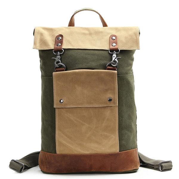 Canvas Crazy Horse Leather Backpack, Laptop Backpack, Vintage Waterproof Shoulder Bag 2003 - ROCKCOWLEATHERSTUDIO