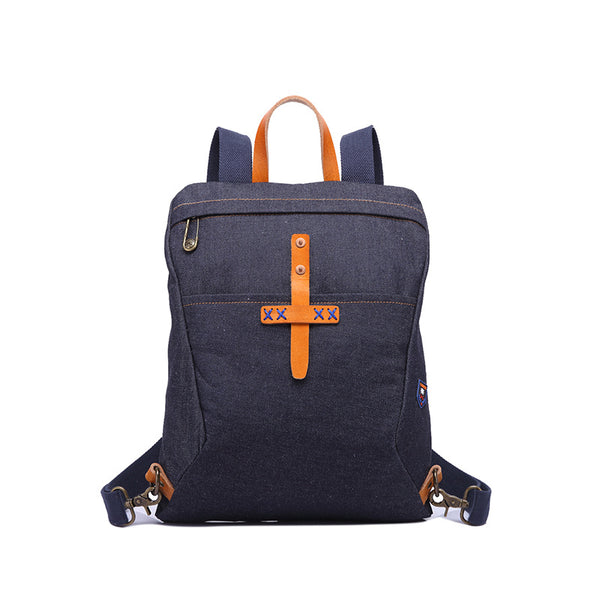 New Denim Canvas Casual Backpack Leather With Canvas School Backpack Fashion Travel Canvas Backpack YD3136 - ROCKCOWLEATHERSTUDIO