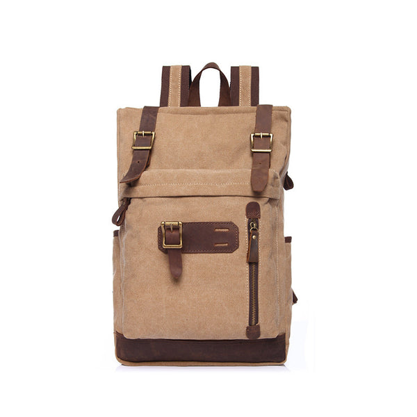 Women Travel Canvas Backpack Men Vintage Canvas Backpack Leather With Canvas School Backpack YD1896 - ROCKCOWLEATHERSTUDIO