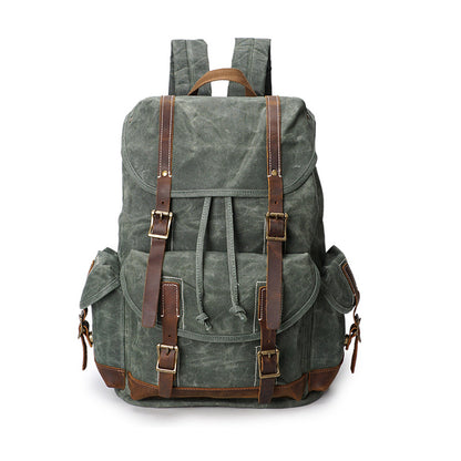 Crazy Horse Canvas Leather Backpack, Travlling Laptop Backpack, Vintage Waterproof Shoulder Outing Bag 5256 - ROCKCOWLEATHERSTUDIO