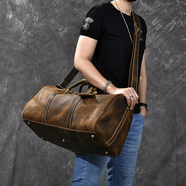 Crazy Horse Leather Men Duffle Bag Large Travel Bag With Shoes Compartment Weekend Bag ESS3982 - ROCKCOWLEATHERSTUDIO