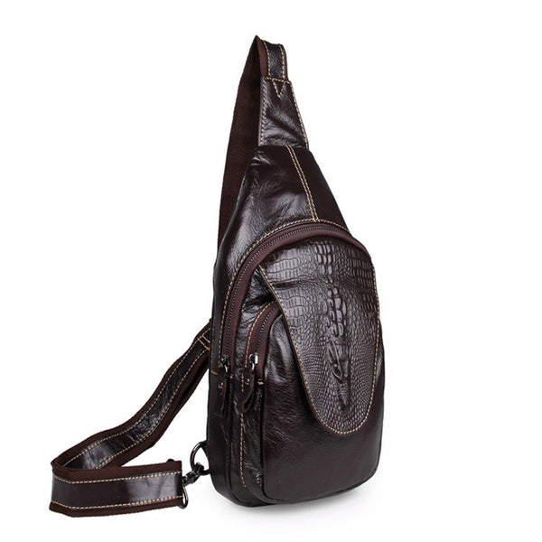 Top Grain Genuine Leather Men Chest Pack Leisure Chest Pack Men Crossbody Sling Bags 7301 - ROCKCOWLEATHERSTUDIO
