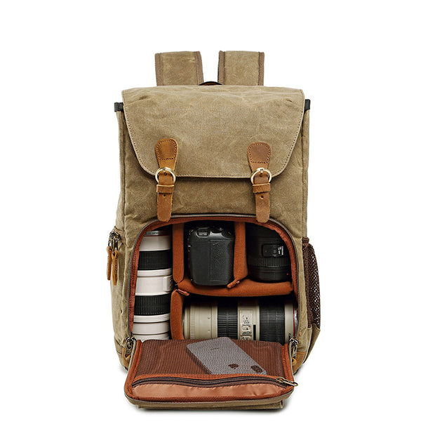 Waxed Canvas DSLR Camera Backpack Travel Backpack Waterproof Camera Backpack QSM2792 - ROCKCOWLEATHERSTUDIO