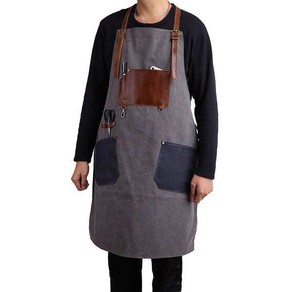 Craftsman Durable Apron Retro Canvas Apron Workshop Long Apron WQ5895 - ROCKCOWLEATHERSTUDIO
