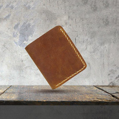 Full Grain Leather Wallet Handmade Leather Wallet Men Gifts Wallet YD1008 - ROCKCOWLEATHERSTUDIO