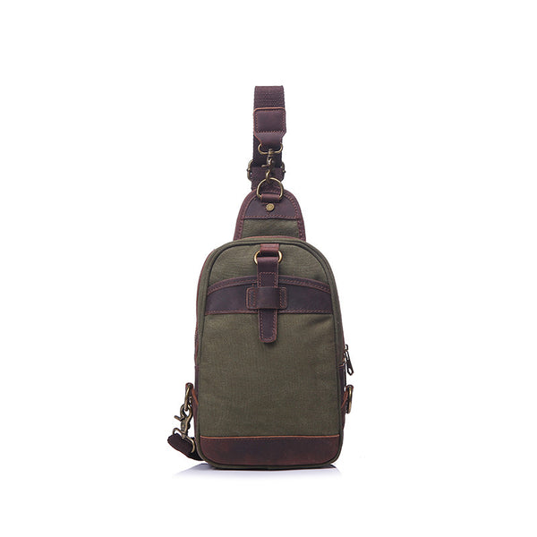 Vintage Canvas Leather Chest Pack Outdoor Unisex Chest Bags Crossbody Sling Bags YD1946 - ROCKCOWLEATHERSTUDIO