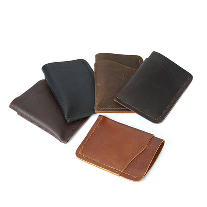 Men Retro Card Wallet Full Grain Leather Short Wallet Men Simple Style Small Clutch YD1037