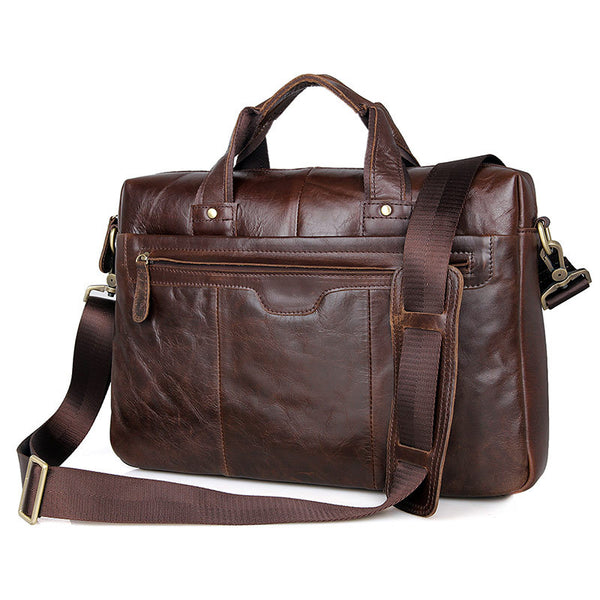 Handcrafted Top Grain Leather Briefcase Men's Business Messenger Bag Hand Bags 7075 - ROCKCOWLEATHERSTUDIO