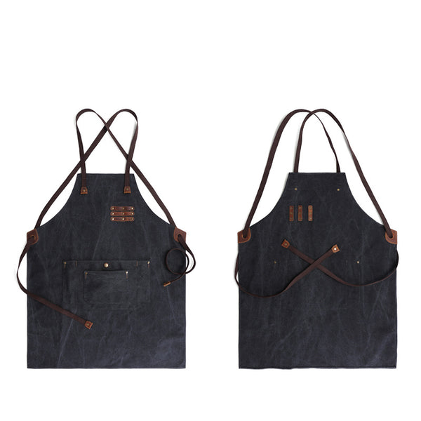 Waterproof And Oil Proof Apron Multifunction Tools Apron Leather And Canvas Craftsman Apron YD5792