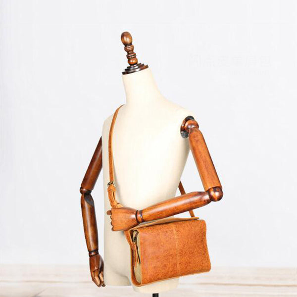 Full Grain Leather Shoulder Bag Leather Messenger Bag Crossbody Bag YD8187 - ROCKCOWLEATHERSTUDIO