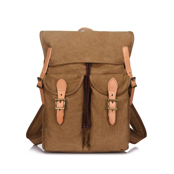 Canvas With Leather Men Backpack Vintage Canvas Travel Backpack Canvas School Backpack YD1967 - ROCKCOWLEATHERSTUDIO